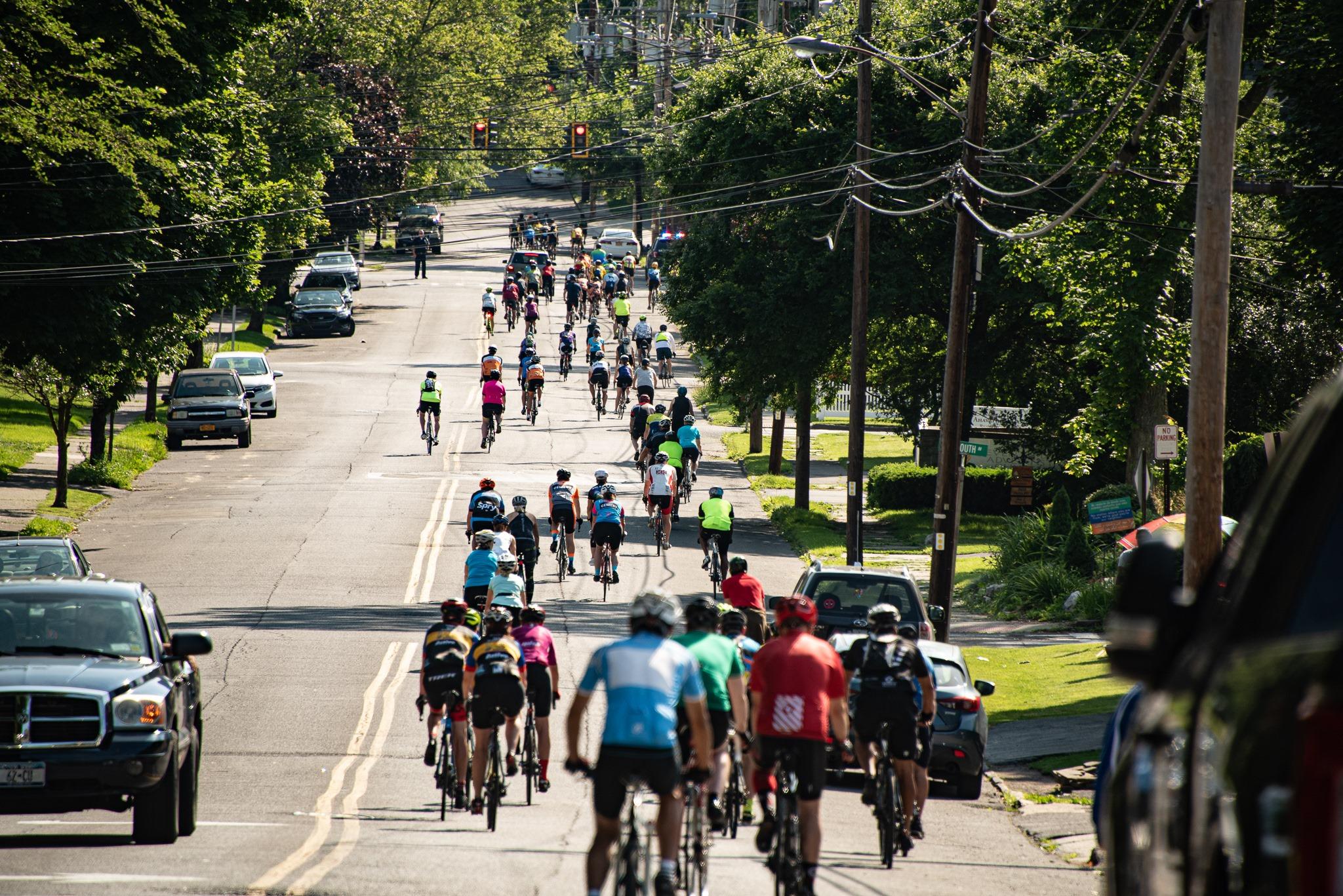 Tour de Kingston leaving Forsyth Park in Kingston, NY